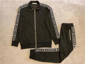 Erkek Tasarımcı Tracksuits Lüks Ter Suits 2019 Yeni Bahar Erkek eşofman Jogger Suit Ceket + Pantolon Siyah Pamuk Suit ayarlar