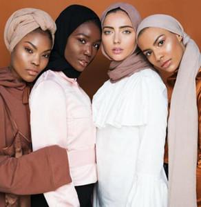 2019 nova primavera e verão senhoras muçulmano lenço cor sólida plissada hijab respirável lenço confortável frete grátis