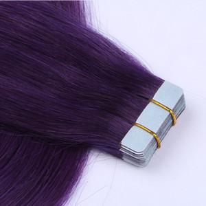Haut Schuss menschliche Remy Haar-PU-Band in den Haarverlängerungen Lila Farbe Peruaner gerade Welle Haar 14-26 Zoll, freies Verschiffen