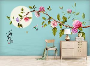 3D خلفية الجداريات صورة مخصصة خلفية الجدار HD الزهور والأزهار رسمت باليد ، والزهور القلم ، وحسن القمر ديكور المنزل جدار الفن صور