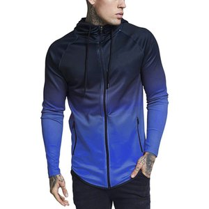 hoodies men 2018 Sweatshirts brand male long sleeve hoodie zipper men hoodies gradient color black red big size 2020