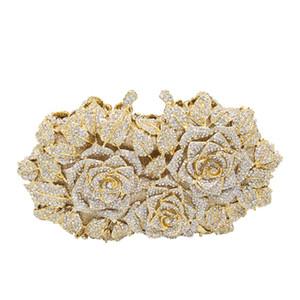 Dazzling Frauen Goldrosen-Blume aushöhlen Kristallabend Metallkupplungen Kleine Handtasche Hochzeit Box Clutch Ba