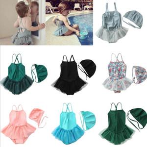 Enfants Maillots de bain Filles Mesh One-Pieces Casquettes dentelle Bikini maillots de bain bébé imprimé floral Maillot de bain enfant Slip Maillot de bain Mode barboteuses PY592