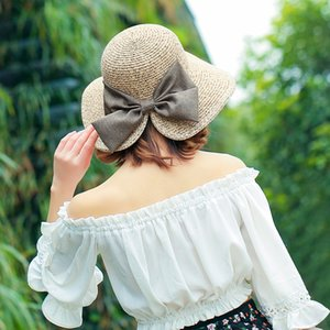 Fashion Ladies Sunhat Summer Holiday Sun Stingy Brim Hats Open Fork Big Along The Bow Elegant Straw 4 Color Hat
