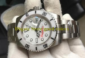 Relojes para los hombres automático para hombre del reloj de cristal de zafiro Bamford Cerámica blanca Bisel de buceo deportivo Fecha Sub perpetuos 114060 Corona de pulsera