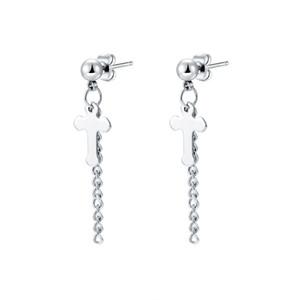 stainless steel women's earrings Sliver Crosses long tassel earpendant titanium steel ear nail women's earrings wholesale