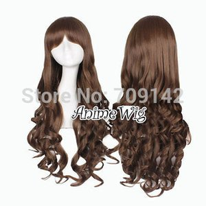 Lolita Long Dark Brown Curly Style Women Girl Cosplay Hair Wig With Bang 80cm queen Kanekalon hair lace front wigs Free deliver