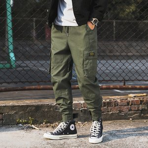 2019 Moda de los nuevos hombres pantalones de carga de algodón para hombre Joggers Hip hop Streetwear Pantalones Ejército Negro Cordón Harem pantalones casuales hombres