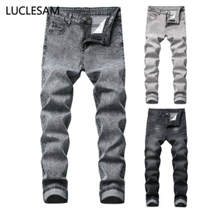 Mens Skinny Straight Jeans Fashion Moto Biker Denim Pants Casual Elastic Middle Waist Jeans for Men Stretch Hip Hop Trousers 42