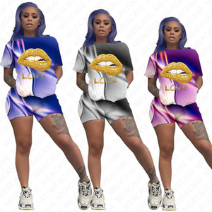 Women Lips Letter Tracksuit Gradient Colors Printing Designer Short Sleeves T Shirt Shorts Two Piece Set Outfits Casual Sports Suit D7206