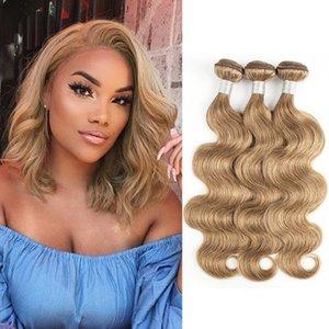 Nº 8 Ash louro da onda do corpo de cabelo Weave Pacotes 3/4 Pieces 16-24 polegadas indiana peruana Remy Extensões de cabelo humano