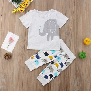 Budcoco New Brand Born Children Baby Boys Baby Girls Animal T shirt Long Pants Clothes
