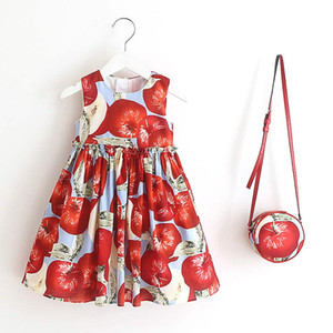 European And American Style 2020 Summer Children Sleeveless Fruit Pattern Party Dress Design 2-6Y Baby Clothes With A bag