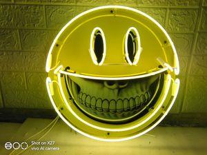 Ron Englisch smiley Neon Pop-Art Individuelle Bier Sign Bar Sign Echtglas Neon Light Beer Sign ENTWURF Neon 24inches Senden individuelle Foto