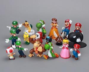 """18 pz / set Bros 1 set 1 """"-2.5"""" Dinosauro Giocattolo Super Mario Yoshi Action Figure In Pvc Per Bambini Trasporto di Goccia C19041501"""
