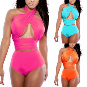 Trajes de baño bikini mujeres Cruz verano halter atractivo del traje de baño de damas del bikini Establece maillot de bain 050310