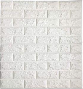 Salon Yatak Odası Beyaz Renk 3D Duvar Kağıdı için Çubuk Duvar Dekoratif Panelleri 3D Tuğla Duvar Sticker Kendinden yapışkanlı Duvar Karosu Peel