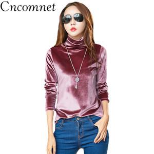 CNCOMNET Bayanlar Altın Kadife Yüksek Yaka Uzun Kollu Katı Renk dibe Gömlek Üst Kadınlar Sonbahar Kış Yeni Moda T Shirt