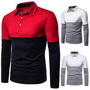 Mens Designer Casual manches longues Polos Double Couleur lambrissé T-shirts Mode Hommes Hauts Lapel Neck Vêtements Homme