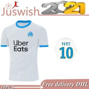 20 21 Olympique De Marseille soccer jerseys 2020 2021 PAYET THAUVIN BENEDETTO football shirt set KAMARA GUSTAVO Men