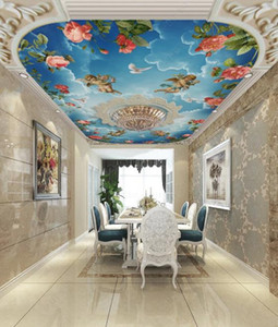 Custom Wallpaper Ceiling Stickers Mural 3D Cameo sky angel rose flower Living Room Bedroom Ceiling Decoration Wall Painting