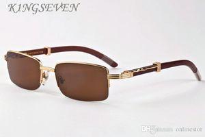 Buffalo Horn Glasses 2019 Half Semi Rimless Sunglasses White Blalck Buffalo Glasses Wood Sunglasses Men Wooden Sun Glasses With Boxes Case