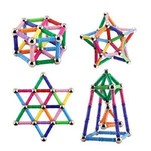 100 bastone magnetico 30 Perline di Metallo FAI DA TE Costruzione di edifici Giocattoli magnetico Designer Stacking Giocattoli Giocattoli Educativi Per I Bambini
