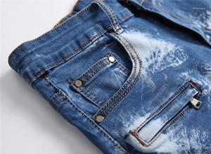 Jean Shorts drapeado Buraco Skinny Mens refrigeram Jean Shorts Moda comprimento do joelho Mens Calças quentes dos homens do desenhista