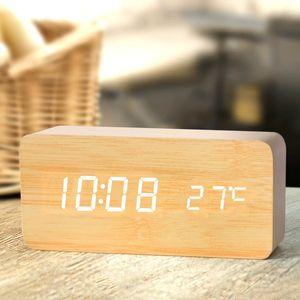 Ganxin Digital Thermometer Wood Alarm Clocks Modern Square Wooden Alarm Clock with Temperature Voice Control LED Digital clock