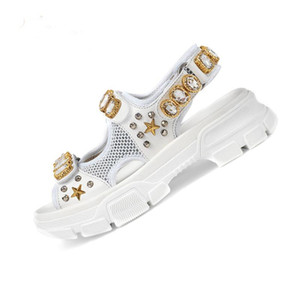 Vendita calda-Designer rivettato Diamante di lusso di sport dei sandali di marca maschile e femminile sandali di svago di moda all'aperto sulla spiaggia in pelle uomo Donne