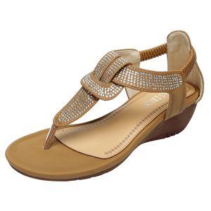 SAGACE Women's Sandals Crystal Bohemian Elastic Band Ankle Retro Wedge Round Head Beach Roman Sandals Summer New Style 2020