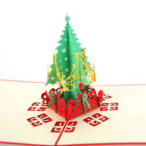 Christmas Paper Gift 3D Stereo Greeting Card Christmas Tree Birthday Blessing Card Handmade Happy New Year Greeting Business Card HH9-2511