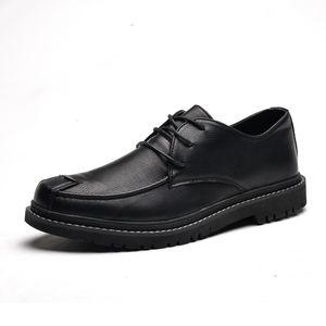Shoes Men Flat Leather Shoes Lace up Bullock Rubber Big Size Outdoor work Light fashion Black leather men