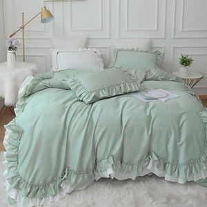 Luxury bedding set queen king size Green ruffle lace duvet cover bed skirt sheet pillowcase princess bedspread Bedlinen Egypt Cotton