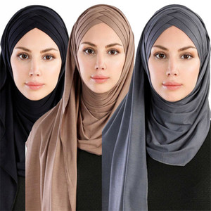 das mulheres muçulmanas Scarf Ramadan Suave Leve Jersey instantânea Hijab longo Lenço Fácil Ready to Wear tampa interna islâmica