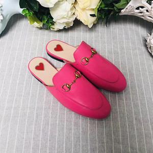Высокое качество 2019 европейские модные тапочки ленивый кролик Баотоу кожа с плоским половиной сопротивления моды досуг женская обувь подкова пряжка тапочки
