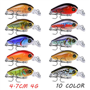 10pcs lot 3D Eyes Crank Plastic Fishing Lure Hard Baits & Lures 10 Colors Mixed 4.7CM 4G 10# Fishing Hooks SF_11