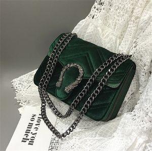Bordado clásico cerradura de terciopelo del bolso del bolso de las mujeres de lujo Deaigner Invierno Nueva cabeza de serpiente bolsa de línea ondulada Cadena Bolsa de Mujeres temperamento elegante 3