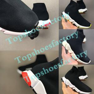 2020 Balenciaga Kid Sock shoes Luxury Brand Entraîneur Casual Flats Vitesse Sneaker Garçon Fille Haut-Top Chaussures de course Noir Blanc 24-35
