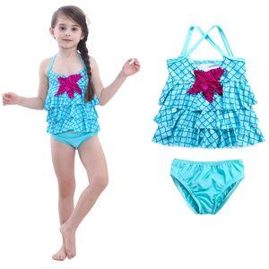 Crianças das meninas swimwear 2019 verão Two Pieces fatos de banho do bebê sereia Starfish Swimsuit desenhos animados crianças escama de peixe Biquinis C6380