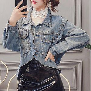 Yu Kube irregular Bombardero Short Denim Jeans chaquetas Streetwear chaqueta informal Remaches Decoración Outwear Jaqueta Chaqueta Femenina