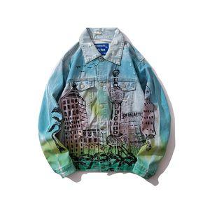 Mens jaqueta jeans Designer buraco solto cor gradiente jaqueta maré marca outono hip hop mens denim