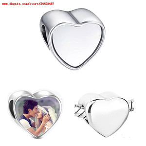 sublimation blank heart photo bead metal Slider big hole 5MM european charms hot transfer printing material valentine's Day gifts