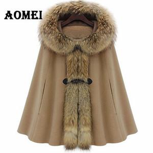 2019 Winter Womens Cloak Hooded Cashmere Wool Faux Fur Collar Cape Poncho Autumn Woolen Coats Female Outerwear Manteau Clothing