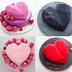 De silicona moldes de la torta que adorna las herramientas de la hornada por diamante 3D del corazón del molde del chocolate Bizcochos gasa Mousse Postre Mousse de pastelería Arte Pan