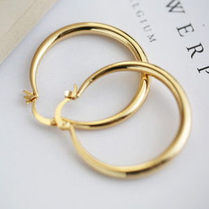 U7 Große Ohrringe Neue Modische Edelstahl / 18 Karat Reales Gold Überzogen Modeschmuck Runde Große Größe Creolen für Frauen
