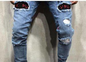 Fashion-Mens конструктора Омывается Hole Jeans Лето Весна Тощий вышивки Письмо Синий карандаш брюки Hiphop Street Jeans