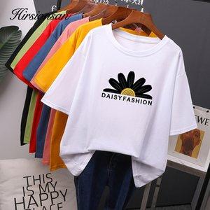 Hirsionsan Daisy Printed T Shirt Women 2020 New Hot Korean Fashion O Neck Tshirts 100% Cotton Tees Vintage Graphic Girls Tops
