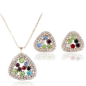 colorful diamonds charm earrings pendant necklaces for women fashion diamond designer jewelry set wedding bride evening dress accessories