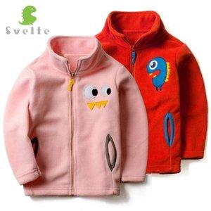 Svelte бренд для весна осень дети дети мальчики девочки твердые флис с мультфильм шаблон Softshell Куртки пальто одежда Джерси
